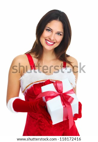 Beautiful Santa helper christmas girl with  gifts isolated on white background.