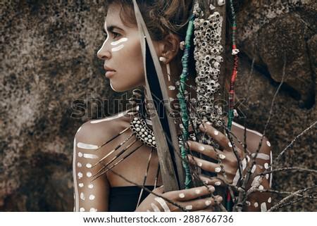 beautiful savage woman - stock photo
