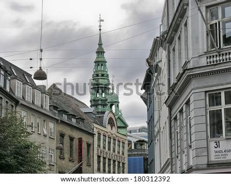 Beautiful scandinavian architecture of Copenhagen - Denmark. - stock photo