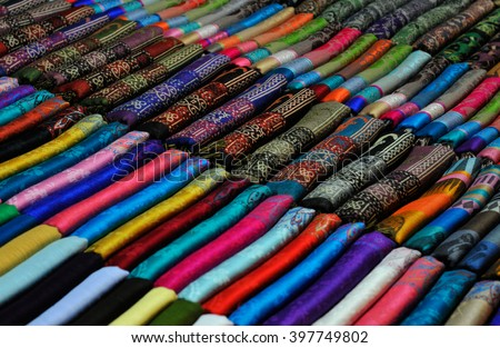 beautiful scarfes for the at the market