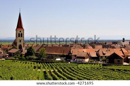 Beautiful Scene of Alsace Wine Road (Ammerschwihr-Kayserberg, France) - stock photo