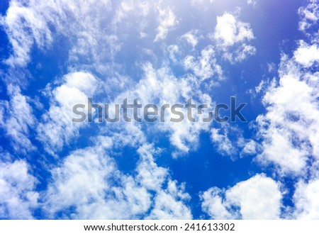 Beautiful scene of blue sky and white clouds
