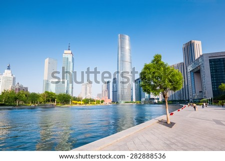 beautiful scene of haihe river in charming tianjin city ,China - stock photo