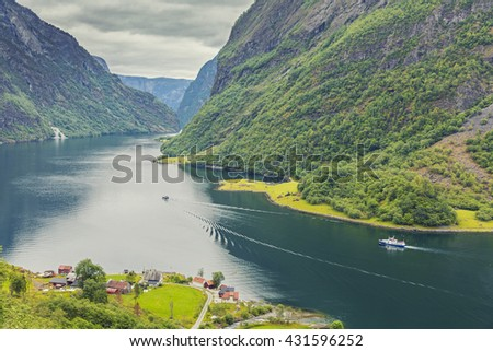 Beautiful scene of mountain and fjord, Neroy Fjord, Flam, Norway  - stock photo