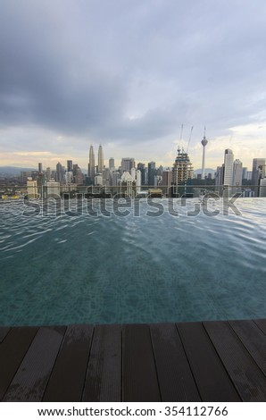 Beautiful scenery of Kuala Lumpur city during sunset. View from infinity pool
