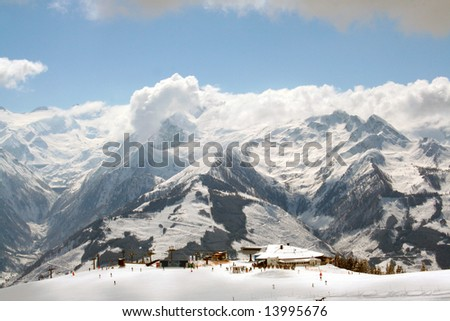 Beautiful scenery of Swiss Alps mountains.