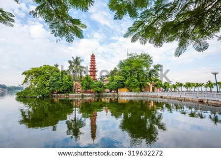 beautiful scenery of Tran Quoc Pagoda. This is a temple located on the West lake and attracts a lot of tourists to hanoi