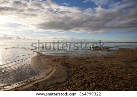 Beautiful scenery on the lake in Estonia - stock photo