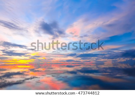 Beautiful Scenery Sunset Sky View Of Lake And Reflection In Water
