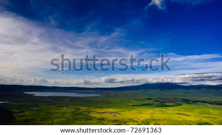 Beautiful scenery which can be seen at an observatory in Ngorongo, Africa - stock photo