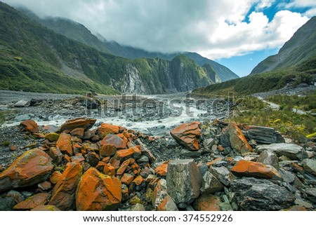 beautiful scenic of fox glacier important traveling destination in south island new zealand - stock photo