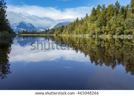 beautiful scenic of matheson lake important traveling destination in south island new zealand