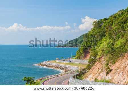 Beautiful scenic route with deep blue sea and sky
