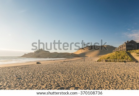 beautiful scenic view of Kiwanda coast beach on the sunset,Oregon,usa. - stock photo