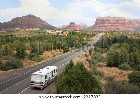 Beautiful scenic view of large RV on the road to Sedona Arizona - stock photo