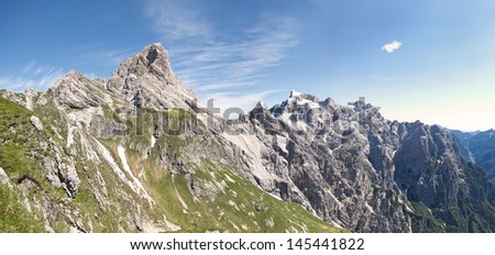 beautiful scenic view of the dolomites mountain, monte duranno, italy