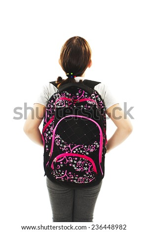 Beautiful schoolgirl with backpacks looking at wall. Back view. Isolated on white background  - stock photo