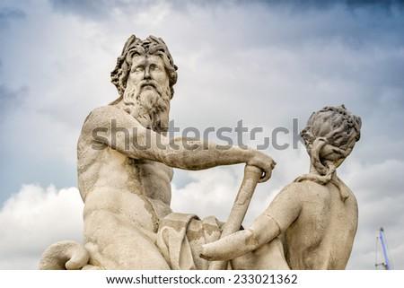 Beautiful sculpture in Tuileries Gardens - Paris. - stock photo