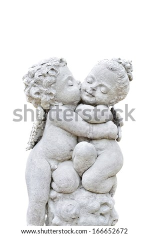 Beautiful sculpture on white background - stock photo