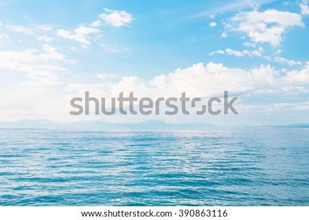 Beautiful sea and a blue sky - stock photo
