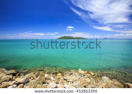 Beautiful sea and blue sky at Koh samui, Thailand. - stock photo