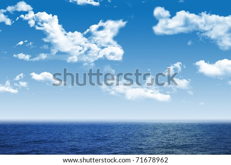 Beautiful sea and clouds sky - stock photo
