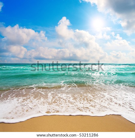 beautiful sea and cloudy sky - stock photo