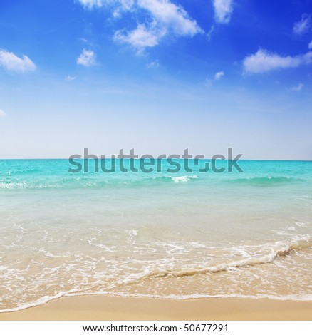 Beautiful sea and sky and the beach