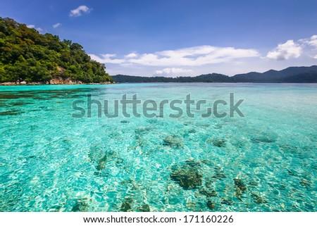 Beautiful sea and white sand beach at tropical island, Koh Lipe, Andaman Sea, Thailand - stock photo