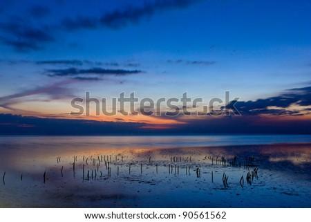 beautiful sea in twilight - stock photo