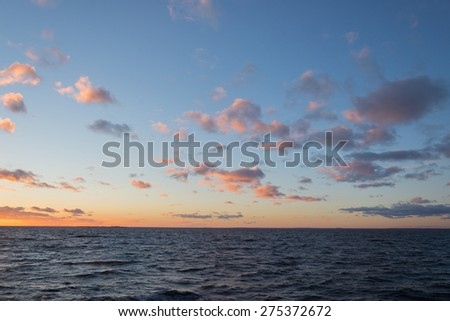 beautiful sea landscape after sunset in Northern Europe - stock photo
