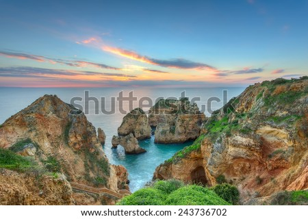 Beautiful sea landscape sunrise. Lagos, Portugal, Algarve. - stock photo