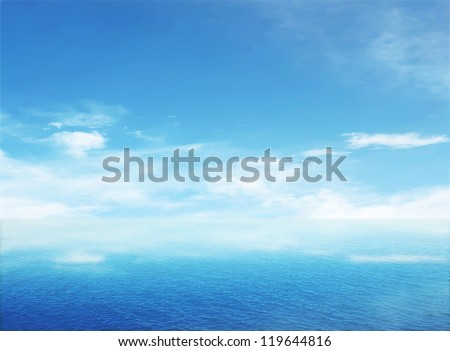 Beautiful sea on sunny day with blue sky - stock photo