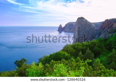 Beautiful Sea Rocky Coast with Green Forest. Crimea, Ukraine - stock photo