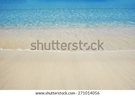 Beautiful sea sand beach in Dubai with turquoise water.
