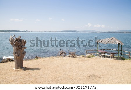 Beautiful sea summer landscape against the blue sky with white clouds with white clouds - stock photo