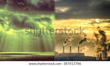 Beautiful sea sunset and the smoking pipe of the plant. The concept of environmental pollution. HDR image - stock photo