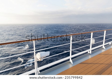 beautiful sea view from deck of cruise ship - stock photo