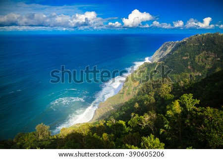 beautiful seacoast of the Atlantic ocean on the northern side of Madeira, Portugal - stock photo