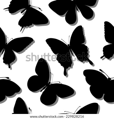 Beautiful seamless background with butterflies silhouettes. Perfect for background greeting cards and invitations of wedding, birthday, Valentine's Day. additional format in the profile of the artist - stock photo