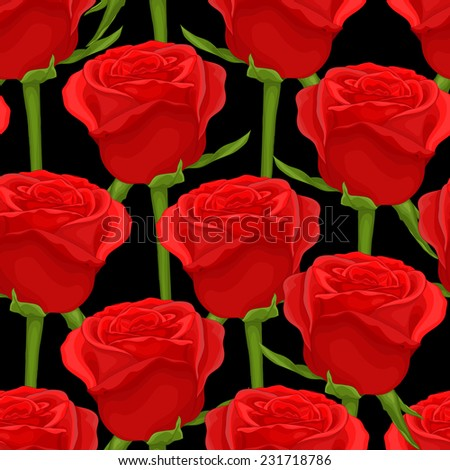 Beautiful seamless background with red roses on black. Perfect for background greeting cards and invitations to the wedding, birthday. additional format in the profile of the artist - stock photo