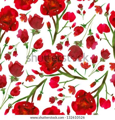 Beautiful seamless floral pattern - stock photo