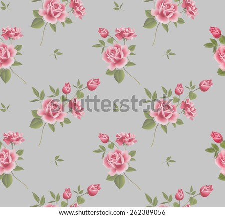 Beautiful seamless floral pattern, flower  illustration. Elegance wallpaper with of pink roses on floral background - stock photo