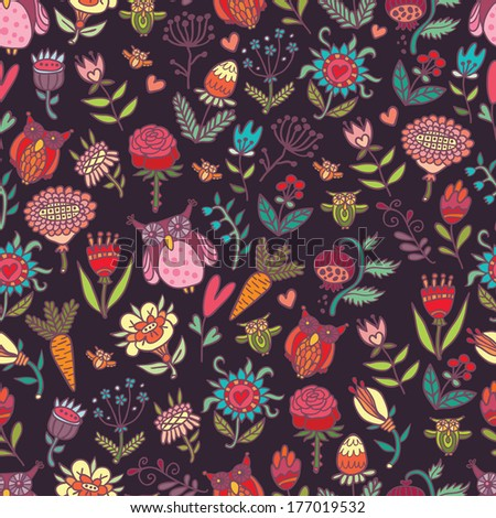 Beautiful seamless pattern with flowers and owls. Raster version.