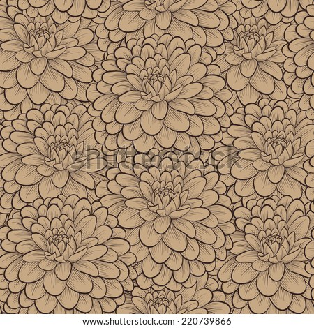 Beautiful seamless pattern with hand-drawn flowers in vintage colors. Perfect for greeting cards and invitations of the wedding, birthday, mother's Day. Many similarities to the author's profile - stock photo
