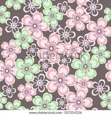 beautiful seamless pattern with pink and green flowers