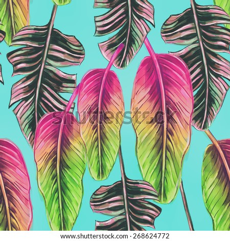 Beautiful seamless tropical jungle floral pattern background with colorful palm leaves.