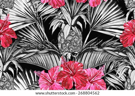 Beautiful seamless vintage floral jungle pattern background. Tropical flowers, palm leaves and plants, hibiscus and pineapples - stock photo