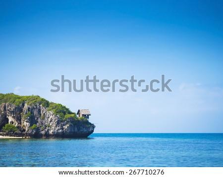 beautiful seascape and blue sky background - stock photo