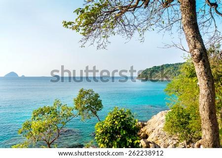 beautiful seascape and small island - stock photo